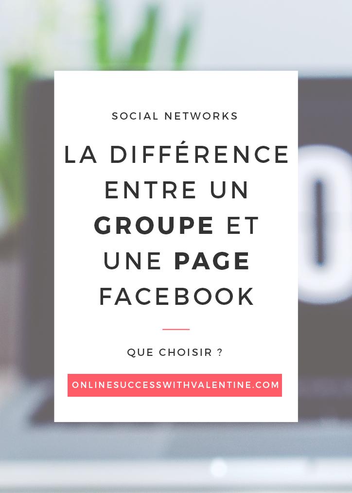 La différence entre un groupe et une page Facebook